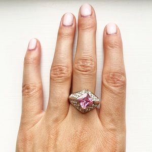 Vintage silver, rhinestone & pink sapphire ring